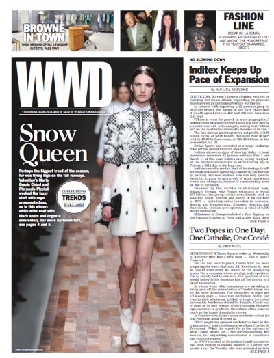 "The headline on our Anna story today? No, not SNOW QUEEN. That's like totally unrelated. Two Popes in One Day: One Catholic, One Conde. Meanwhile, the reaction from Wintour's supportive colleagues: ""We're not all friends here."" Conde Nast - it's just like a reality show."