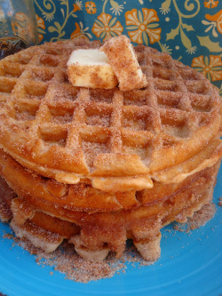 creativehughorror:  tumblrnest:  churro waffles? holy mother  this is going to substitute everything else I eat