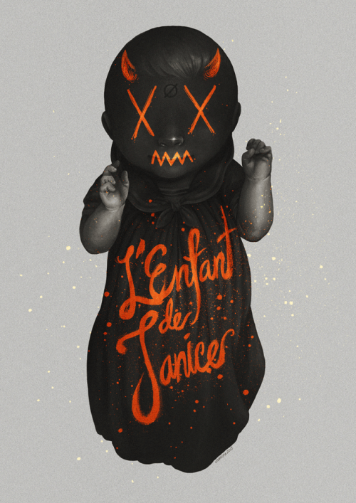 "L'Enfant de Janice {2013} This piece is my contribution for Haute Auteur 2013 which is the annual silent film competition by the UP Cineastes. Along with an exhibition of the entries, there will also be an art exhibit of which I am a part of along with some excellent art buddies like Jamie Cabatit, Bernard Gatus, and Rob Cham.  If you're not too geographically challenged, please do drop by. The exhibition will be open for viewing on February 27 - March 1 at the Old Film Lobby, Plaridel Hall, UP DIliman CMC, and on March 4 – March 8 at the Greenbelt 3 Lobby, Makati City.Also, this is available as a print in case you want one? Yes? Click here to make your walls less boring. Also the following is gonna be a fairly long and possibly rambly rationale of this piece…  [[MORE]]  In Philippine mythology there is a creature called the Tiyanak, which is basically a demon baby. If a baby dies before a Catholic baptism, supposedly, it is denied entrance to Heaven and comes back as, quite literally, a monster of a child.Now, in Philippine pop culture the Tiyanak has been called ""Anak Ni Janice"" which translated into English means, ""The Child of Janice"" which is in reference to a horror movie about a tiyanak, entitled ""Anak Ni Janice,"" in which had a mother facing facts that her child was a demon baby. I barely remember the movie as I hadn't seen it in such a long time.So anyway, Haute Auteur's theme this year is about modern societal horrors. I figured I wanted to reference something from Philippine cinema as well as Philippine mythological horrors, which is the majority of Philippine mythology anyway.So this piece is about the issue of gender and sexuality. If you notice, there's a neutrois symbol on the baby's forehead because at this stage of a human's life supposedly none, not even the baby itself, knows what its gender or sexuality is and we should be fine with that and shouldn't really deciding for it what it should be. Let the human decide for itself what it wants to be at it's own time.But in the Philippines, the conservative idea of gender binarism is prevalent and is gospel truth to most. I think humans are far more complicated than that though, but a major part of society may disagree. So, this painting is of a baby that was ""vandalized"" with dehumanizing, bright-orange scribbles to be perceived as a demon baby for being seen as something that doesn't fit traditional labels and tagged with ""L'Enfant de Janice"" which translates to ""The Child of Janice"" or ""Anak ni Janice."" I wrote it in French to get into the Haute Auteur spirit. So anyway, something that shouldn't be seen by as an appalling idea, is perceived as a ""horror."" This might be an overly biased piece and I don't expect anyone to agree with me though. But, I'm hoping this piece sparks more public discussions in the Philippines about gender and sexuality at the very least. On a side note though, I've a hunch that the Tiyanak might be an invention of the church. Because in the Philippines, during Spanish colonial times, the Spanish friars often demonized a lot of non-Christian activities. Kind of like how Catholics took over December 25 to become Christmas. Anyway, probably to frighten Filipinos into getting their babies baptized, they invented the Tiyanak? Maybe? Or probably not?Anyway, see you at the exhibition. Maybe? Haha!"