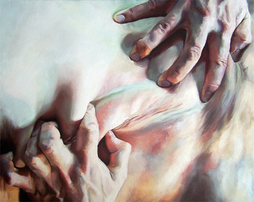 Using a collaborative oil painting process, Cara Thayer and Louie Van Patten create artworks that explore the poignant power of the human touch. In these works, hands and fingers are the protagonists — they have the power to make us squirm with discomfort and insecurity or long for a gentle caress. Thayer and Van Patten's compositions zoom in on various details of the body, presenting a form of intimacy that can be sensual and unsettling at the same time. Take a look at some of their artworks here: http://hifructose.com/2013/01/08/cara-thayer-and-louie-van-pattens-confrontational-paintings-of-intimacy/