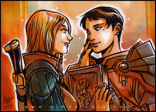 brennacedria:  dgaider:  aimosketchcard:  PSC - Leliana & Cassandra Pentaghast from Dragon Age 2 Commission info  The writers must see this. They will laugh, for reasons I shan't discuss. Still, pretty. Aimo, you are so awesome.  Okay now I'm crazy curious.