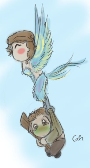 gepardo:  I drew more Harpy!Belle and Peasant!Rum! ….He'll eventually get used to this way of traveling…