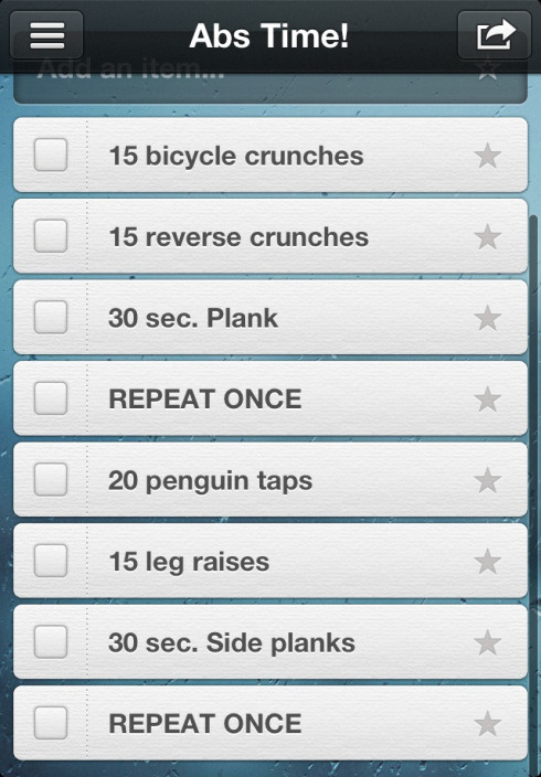 reachyourpeak:  Quick abs workout for you to do after your workout today. A strong core is so important! Do you regularly work on your abs?