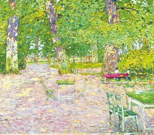 The beer garden, ca 1910, Max Uth. Germany (1836 - 1914)