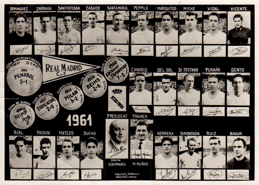 Real Madrid CF, 1961. Source: Postcard