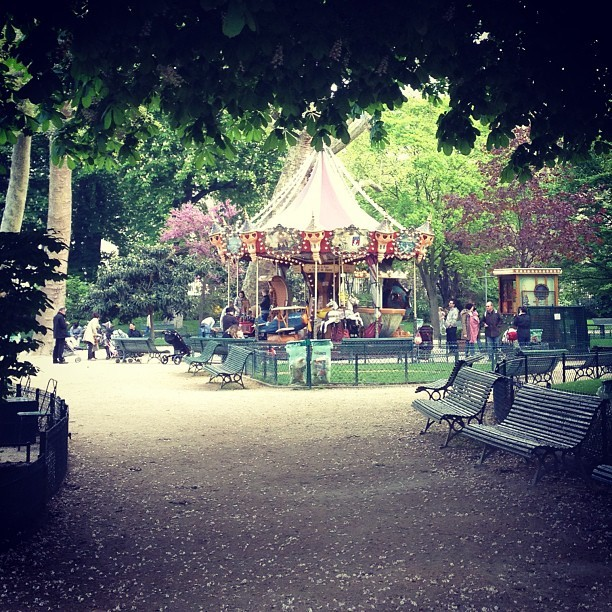 The merry-go-round in the Parc Monceau this morning. Paris, France (at Parc Monceau)