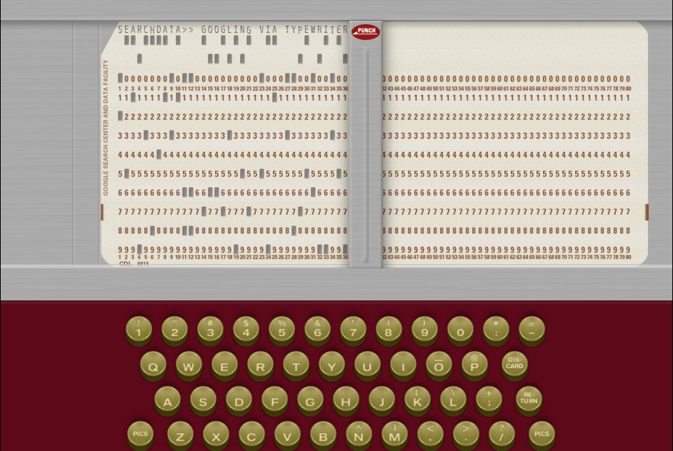 How would Don Draper use Google? Via typewriter, of course! Run a search and see what happens.