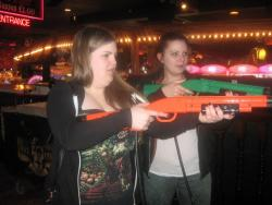 Me and Rach on probably the best arcade game ever. You just hunt deer game hahahahaha. I like animals too much to do this irl but it's super addictive.