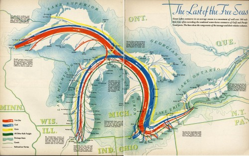 mapsontheweb:  Shipping routes through the Great Lakes (1940)  Free internal seas. Would be interesting to see magnitude of shipping on St Lawrence Seaway as compared to this volume … of course not contemporary to 1940 … volume contributing to military pre-production.
