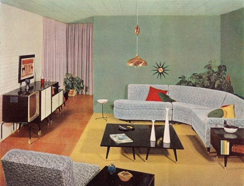 theniftyfifties:  Living room design from the Sherwin-Williams 1956 Home Decorator booklet.