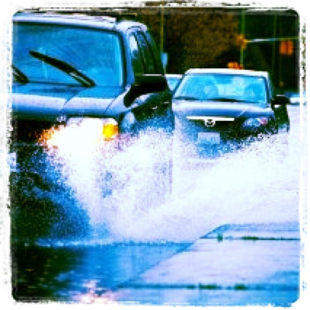 Must be #seattle driving in the spring! #cars #puddles #splashing
