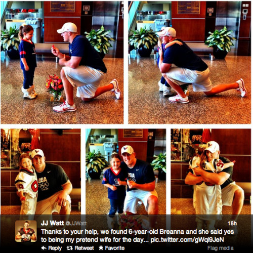 NFL star J.J. Watt proposes to 6-year-old, Internet swoons
