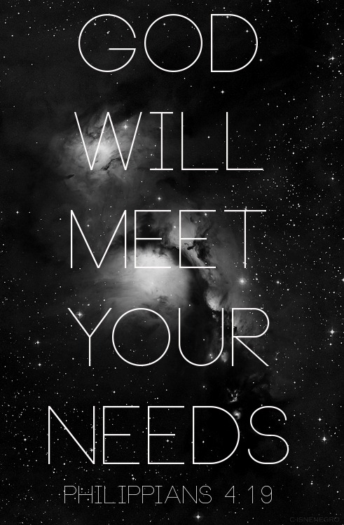 "spiritualinspiration:  God shall supply all your need according to His riches in glory by Christ Jesus Philippians 4:19, NKJV. When the people of Israel were in the desert on the way to the Promised Land, God gave them manna to eat. That was good. It sustained them for a while, but it wasn't permanent provision. Eventually, the manna stopped coming. The people had to move forward, and then God gave them quail. They were so excited. That fed them for a while, but it was also temporary. See, God gave the Israelites temporary provision on the way to the Promised Land where they would have permanent provision. The fact that God had something much greater in store for their future is what kept them moving forward. God could have sustained them with manna or quail, but God is a god of increase. He works in seasons, and He always has something better in store. Don't get stuck in a rut and think that one way is going to last forever. Instead, stay open and be willing to change, make adjustments, make corrections or try something new. If the ""manna"" stops coming, don't get upset. Just keep moving forward and be on the lookout for the new provision God has in store for you!"