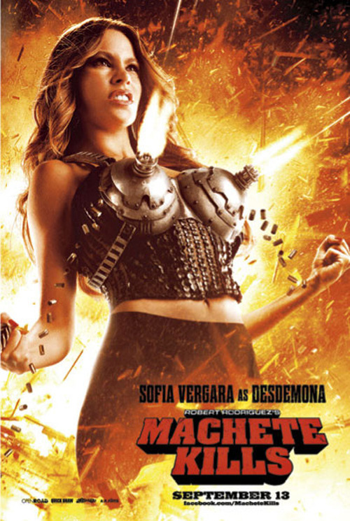 Sofia Vergara shows off her awesome machine gun bra in this new poster for Machete Kills Well I'm sold.