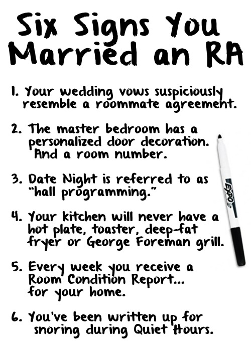 Six signs you married an RA  …with apologies to my wife, who served two years as a resident assistant.