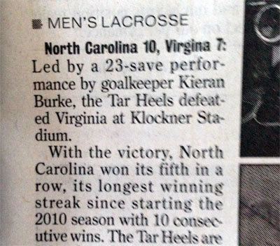 "Men's lacrosse scoreline refers to ""Virgina"""