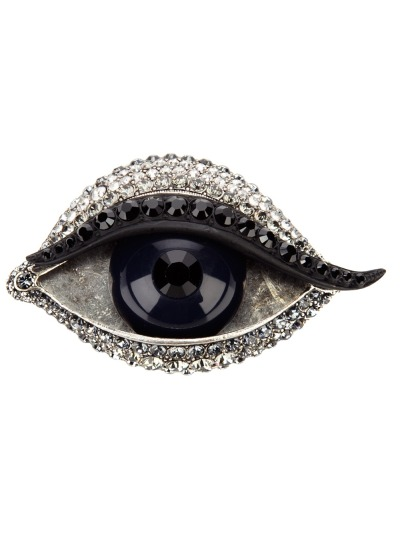 "The collection of contemporary eye-brooches is growing…This one is by Lanvin (Price: $690). ""Les Yeux D'Elsa"" also features a mouth and hands. Clearly a hommage to Dali's set of brooches…"