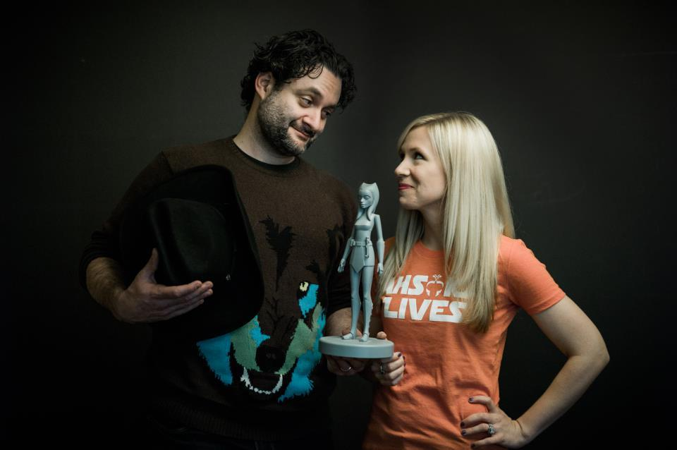 "Ashley Eckstein shared this photo by Joel Aron of her and Dave Filoni. The 'Ashoka Lives' tee ""will be available soon"" from Her Universe"