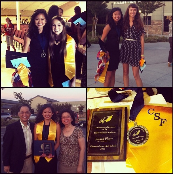 "Senior Awards Night: May 20, 2013  Department Award: My academy advisor selected me for the academy's department award. He opened with this:  This student's one goal in life is to take over the world. The whole speech was poking fun at him and the academy being ""minions"" to my ""path to world domination"" and how ""everyone should now down""; how type A I am, the blood-sweat-tears I've put in, my 2 term presidency…and of course, that I ""wear high heels most often of any female student he knows"". He also said how the academy was essentially my baby: and made an analogy of how babies are messy and seem always upset but how at my final meeting, there was an ""aww"" (that he cued the audience tonight to do) about me leaving; how that was like seeing one's child finally smile. I couldn't have asked for a more personal, ridiculous, hilarious, speech and award.  CSF (California Scholarship Federation Lifetime Sealbearer Member) was awarded to around 50 other wonderful people and let's be honest, that's a gorgeous sash for graduation. :)  Eagle Award. The finale of the night, it was introduced by the MC as an award to recognize the ""most well rounded of PG"". Students who were high achieving academically, student athletes, well involved in community service, leadership, clubs, school events; many different mixes of the bunch. (There is teacher nomination, an application, review of app by a panel, student vote and teacher vote). This year, the top 12 of these were denoted the ""Eagle Award"" and medal, and the top/highest scoring awardee is recognized and wins the $500 scholarship (or as he said, ""book money""). He called up the twelve alphabetically, and then said he wanted to read from the ""winning""/top Eagle application to demonstrate what the award culminates. He started reading the list of activities, and with the very first listing: GATE Club president, I/we/all realized it was me…OMG THE FEELS. He kept reading, and (bear with me) the reactions (oohs, ""oh my gosh"", general ""woah"") from the audience just got to me. I kept biting my lip and looking down/avoiding audience eye contact, laughing a little.   He then went on to read one of the short answers. I thought he would read the one prompted ""Why should you win the eagle award?"" which was a summary and nod to all areas of the school's strengths, but then he read:  Just after the first quarter of my junior year, my mother suffered a major health crisis. I was home with just my younger siblings, when she fainted, fell, fractured her skull, and suffered subdural hematoma in her brain. I called 911. I panicked to the operator. I dealt with the three terrified children, the firefighters and paramedics, the rude ER nurse, the family and friends calling. I stayed nights in the hospital, days in her room feeding her, talking to her, helping her walk. I slept no more than three hours at a time for weeks. All of this: weeks and months spent in such a new way of life was taxing, and I will always remember Dr. Blaker advising me to slow down, to avoid burning out. The whole situation left me drained and spread thin, and I hit my lowest grades ever (including one ""C""). But I accept full responsibility. Just as I take much responsibility for helping my whole family adjust to our new life with my mother's accident, and responsibility to nurse her when she would let no one else do so, I take full responsibility for my own well-being, and fluctuations of my grades.  I could have asked for extensions and grade bumps, but those would not depict how I did in the class - which is the meaning of a grade. They may tell how I ""would"" or ""should"" have done, but it would not be accepting what I had gone through. By taking responsibility, I did not blame anyone - fate, my teachers, my mother, nor myself - for my grades, but took it as a factor in my life, a variable among the many in my life. He made a pause halfway, saying he could stop there and that would be remarkable enough, but continued to read about the claim to responsibility. Needless to say, I was not at all prepared…and I started crying (err, tearing up). In front of the crowd. Ah! After the newspaper photographer took the group photo of 12 awardees, he said to me that what the MC read from my application had inspired him, that it made his day and his week. He said of all the awards tonight, and the awards at all the schools he's been to (""and I've been to six!"" he said), mine got to him, that it was very respectable and inspiring.   It's weird finally seeing everything I've done in high school be summarized with tonight's events. Thanks for wild four years, Pleasant Grove."