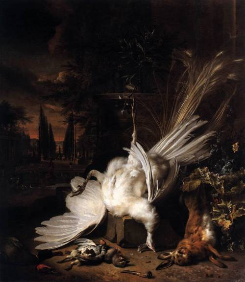 cavetocanvas:  Jan Weenix, The White Peacock, 1693
