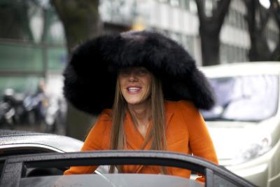 #anna_dello_russo, #doggie, #orange, #big_hat, #fur, #louis_vuitton, #milan, #dog, #dog_porn, #vogue, #street_style, #nycstreetfilecom, #nyc_street_file, #giorgio_armani, #ch