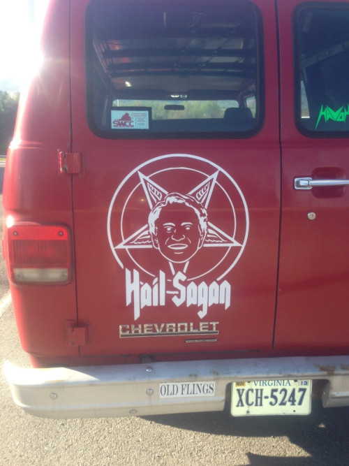 proud-atheist:  Saw this in the parking lot this morning.http://proud-atheist.tumblr.com  Lolwat