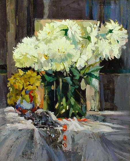 Charles Swyncop Still Life with White Flowers 20th century