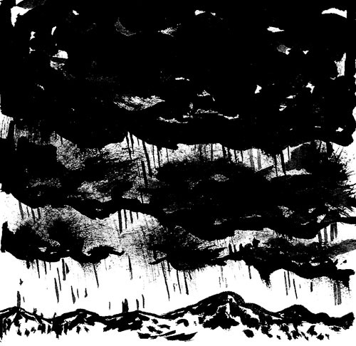 "Storm, for Illustration Friday. Ink on paper, 3x3""."