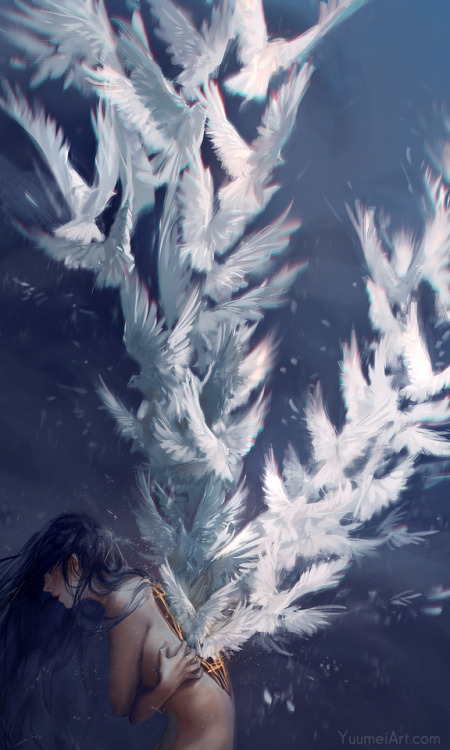 """yuumei-art:  Liberation - A new take on my older painting at the bottom titled""""What it Takes to Fly""""  HD files and art video on Patreon.com/YuumeiMore art, comics, and tutorials on YuumeiArt.com"""
