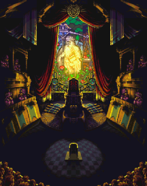 gameandgraphics:  Chrono Trigger scenery design: Court and Magus castle (Square for Super Nintendo, 1995).