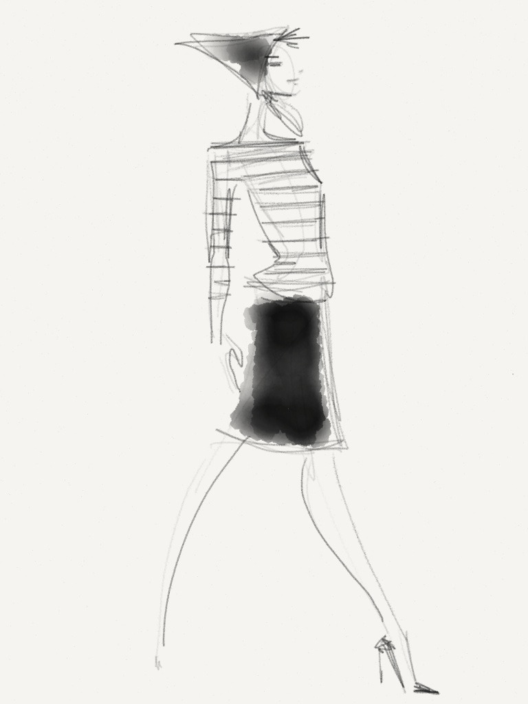 Joe Fresh - Fall 2013 / Illustration by Danielle Meder Using swipes instead of brush strokes, Canadian illustrator Danielle Meder sketches her favourite looks from the runway rooms at Toronto Fashion Week
