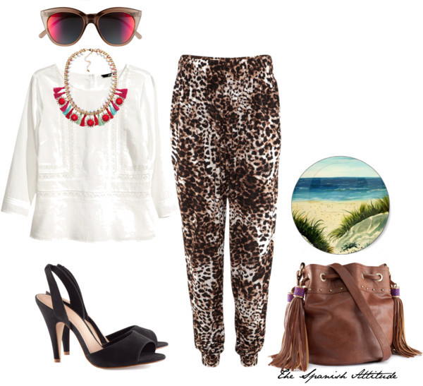 The Beach por pibertomeo con cat sunglassesH&M  top, $38 / H&M harem pants, $20 / H&M python shoes, $30 / H&M  handbag, $23 / H&M  jewelry, $23 / Le Specs cat sunglasses / oil sand dunes beach art painting sticker