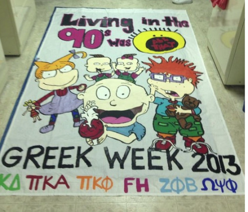 sororitysugar:  banner bliss ~ 90s greek week theme!  kdclassy