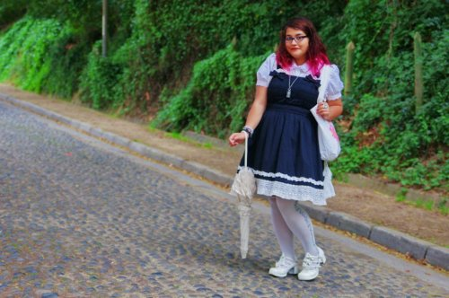gorgeouspluslolita:  Mila from Chile <3 Dress and tote: BTSSBSocks and parasol: AatPShoes: BodylineAccesories: Handmade