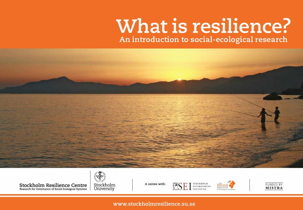 climateadaptation:  What is Resilience? is a nifty, free, 20page, visual ebook overview defining resilience. It's free, and published by the researchers at the Stockholm Resilience Centre. (Free ebook is free.) Resilience is the capacity of a system, be it an individual, a forest, a city or an economy, to deal with change and continue to develop. It is about the capacity to use shocks and disturbances like a financial crisis or climate change to spur renewal and innovative thinking. This publication presents the major strands within resilience thinking and social-ecological research. It describes the profound imprint we humans have had on nature and ideas on how to deal with the resulting challenges. The publication is based on three scientific articles that were prepared for the 3rd Nobel Laureate Symposium on global sustainability, which took place in Stockholm in May 2011. The articles were later published in the scientific journal Ambio. They represent a mix of necessary actions and exciting planetary opportunities. They also illustrate how we can use the growing insights into the many challenges we are facing by starting to work with the processes of the biosphere instead of against them. Chapter One describes in detail the complex interdependencies between people and ecosystems. It highlights the fact that there are virtually no ecosystems that are not shaped by people and no people without the need for ecosystems and the services they provide. Too many of us seem to have disconnected ourselves from Nature. A shift in thinking will create exciting opportunities for us to continue to develop and thrive for generations to come. Chapter Two takes us through the tremendous acceleration of human enterprise, especially since World War II. This acceleration is pushing the Earth dangerously close to its boundaries, to the extent that abrupt environmental change cannot be excluded. Furthermore, it has led scientists to argue that the current geological period should be labelled the 'Antropocene' – the Age of Man. Chapter Three highlights the fascinating paradox that the innovative capacity that has put us in the current environmental predicament can also be used to push us out of it. It introduces the term social-ecological innovation, which essentially strives to find innovative ways to reconnect with the biosphere and stay within planetary boundaries. Enjoy! :)