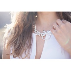 @rumineely in the Luv Aj Crystal Cross Necklace in Brushed Silver ($165) #LuvAjBabe