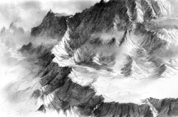 Mountain range sketch by ~Ent4ry