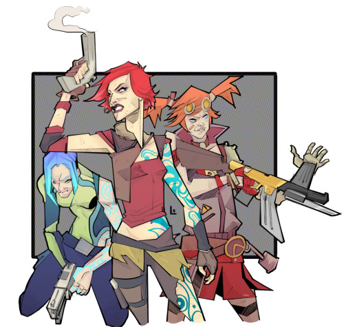 professional-outsider:  I said I would do some Borderlands 2 art, SO EYE DEED. I'll probably upload each of them individually too, to give the illusion of quantity. Titty, out.