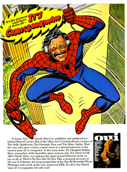 Advertisement for Stan Lee interview in Oui magazine, 1977. Illustration by John Romita.