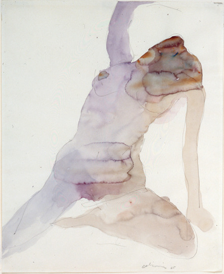 Nathan OliveiraFigure #3Watercolor on paper17 x 4 ""