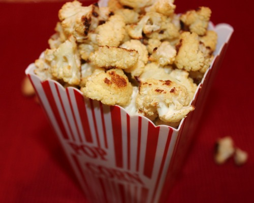 Roasted Cauliflower Popcorn - Cauliflower has a lot of great uses, and tastes great mashed, steamed and in stir fries. Roasting is another great way to cook this veggie, and it brings out a lot of sweetness. In this recipe, I have added a few spices, but you can add whatever you like – Indian flavors are great with this one as well. Vist www.jaydenicole.com for moe great recipes and to get into the best shape you can be! Roasted Cauliflower Popcorn 1 small head of cauliflower, broken into florets 2 Tbsp olive oil 1/2 tsp each salt, pepper, paprika, garlic powder, chili powder Directions: Preheat oven to 400F Mix cauliflower, oil and all spices together in a bowl, and then place in a single layer on a baking pan (you can line with parchment or tin foil for easier cleanup). Roast for about 30-40 minutes until pieces look a light brown color. Stir a few times while roasting. Serve warm or at room temperature. Serves 4-5.