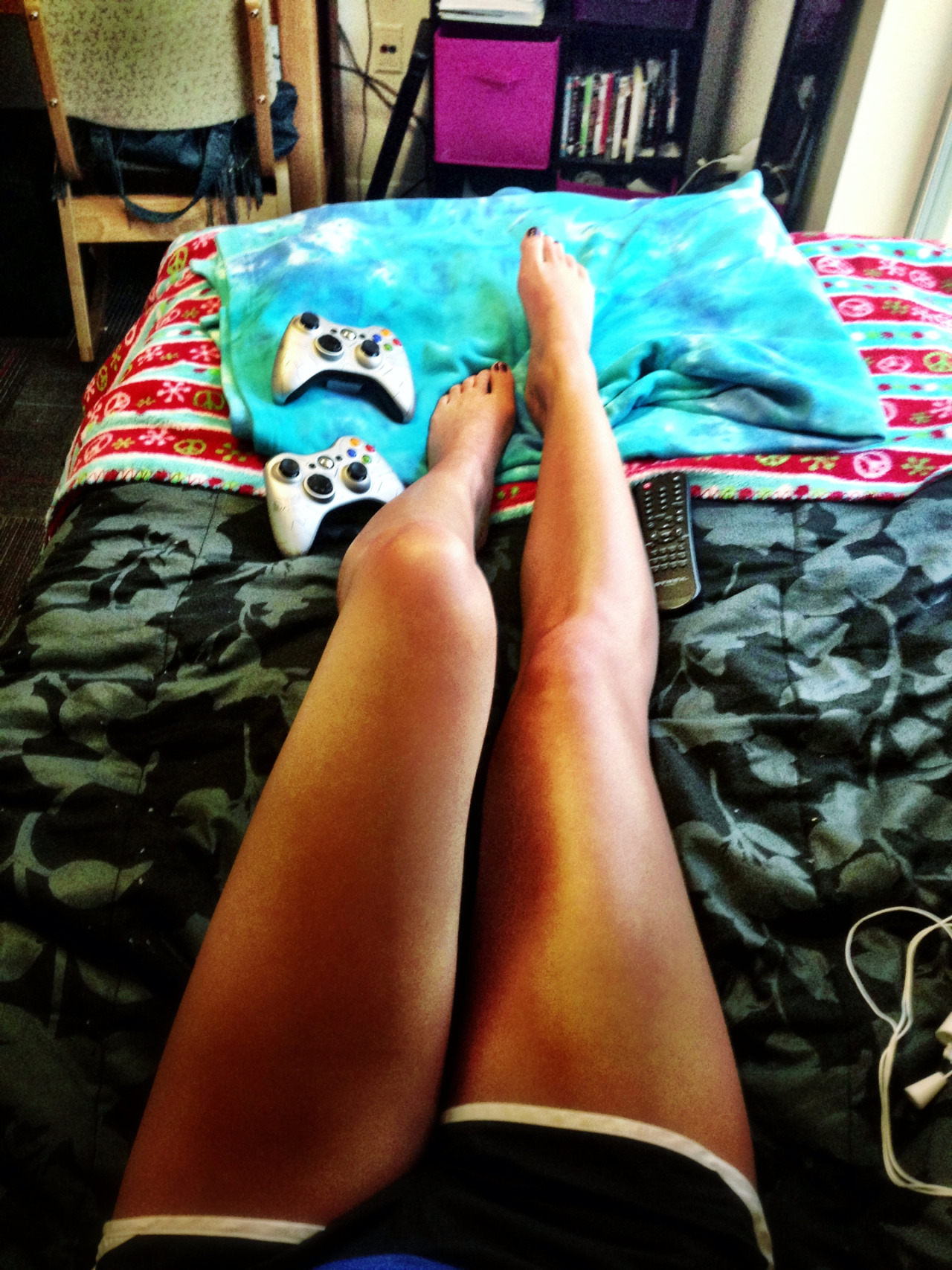 emilybreeny:  Dorm life…. Whaddup somewhat tan legs
