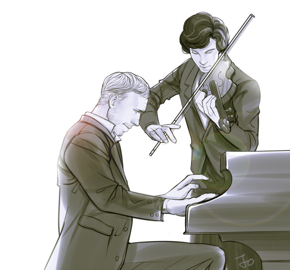 Sherlock and House playing Dance Macabre