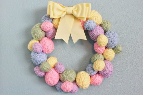 Easter or Spring Wreath yarn ball wreath eggs by whimsysworkshop