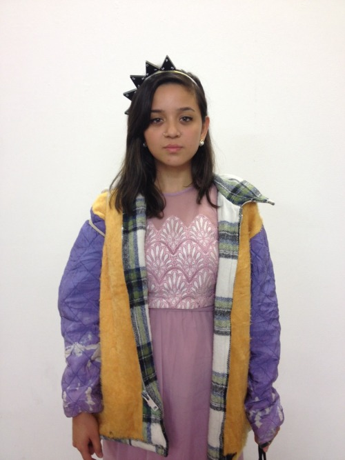 ALEXANDRA Wears vintage dress & coat from Canada and domino head band made by Alexandra.