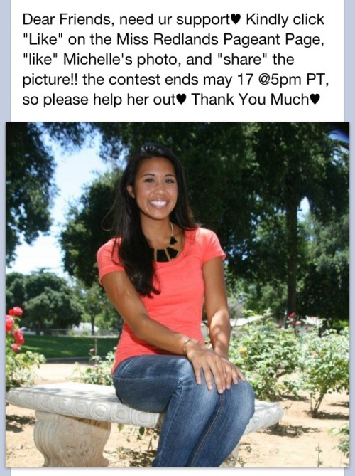 Please help Michelle, a beautiful and wonderful ADPi sister to win the People's Choice in the Miss Redlands Pageant! Vote on Facebook! Follow the picture instructions!
