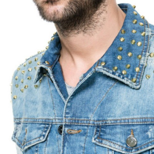Studded Denim Waistcoat #Zara #ZaraMan #Studs #Studded #Denim #Waistcoast #Shopping