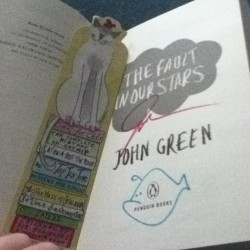 pocketfull0fcats:  Bitches be jelly of my signed book+cat bookmark!#john#green#signed#cat#bookmark#hehe