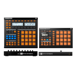 How does Native Instruments' Maschine and Maschine Mikro compare in terms of workflow? Aside from Maschine Mikro not having customizable and not being compatible with the Maschine Stand here are a few other differences that might help you make a decision on which one fits your production style best.  -Maschine gives you access to groups from the hardware controller via 8 multi-colored group buttons where Maschine Mikro features only 1 multi-colored group button and shortcuts.  -Maschine allows you to tweak multiple parameters at once where Maschine Mikro does not. You can get around this by programing macro controls and using a second MIDI controller.  -Maschine features a built-in MIDI interface where Maschine Mikro does not. The price difference between the two is about $270 USD for the full versions. Check out this full comparison for more info:   http://bit.ly/MaschineComparisonChart                                       YouTube  |  Twitter  |  iOS and Android Mobile Apps