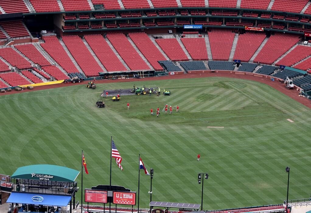 mightyflynn:  Busch Stadium being prepped for Chelsea FC vs. Manchester City FC exhibition match. May 21, 2013 St. Louis, Missouri Photo by DAvid Carson aka @PDPJ